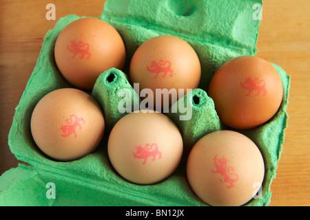 'Lion mark' Free Range Eggs - Stock Photo