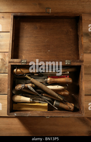 artist hand tools for handcraft works on golden wood background - Stock Photo