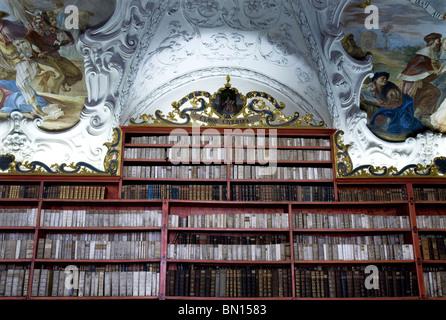 Strahov Theological Hall - Original Baroque Cabinets, Prague - Stock Photo