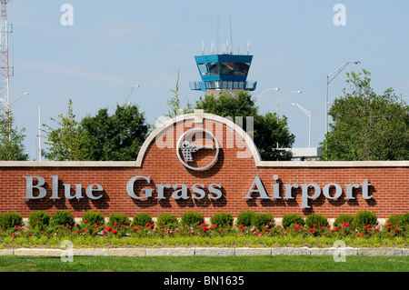 Entrance sign and control tower at the Blue Grass Airport in Lexington, Kentucky, USA - Stock Photo