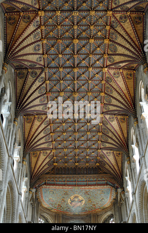 The painted wooden ceiling, Peterborough Cathedral, Cambridgeshire, England, UK - Stock Photo