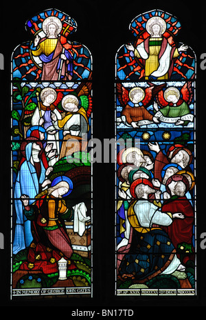 Stained glass in North Transept, Peterborough Cathedral, Cambridgeshire, England, UK - Stock Photo