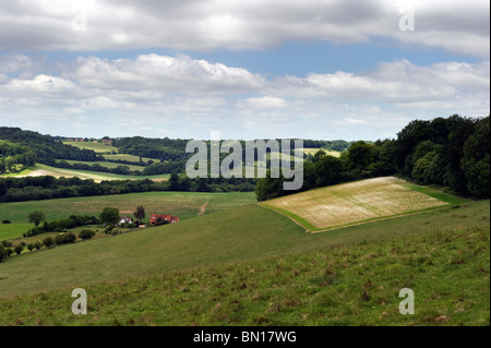 An English landscape countryside view of Hambleden valley in Chilterns countryside, Buckinghamshire UK - Stock Photo