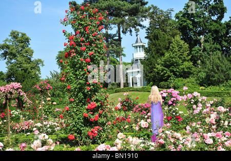 Bois de Boulogne, Parc de Bagatelle, rose garden and orangery. Bagatelle Parc, Paris, France. - Stock Photo