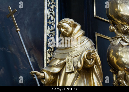 Religious gilded sculptures, Church of the Infant Jesus of Prague - Stock Photo