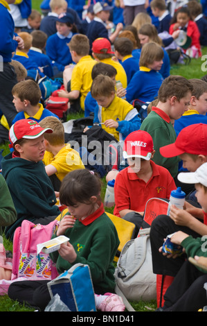 Schools eating lunch on the grass at Hay Festival Primary Schools Day during Hay Festival 2010 Powys Wales UK - Stock Photo