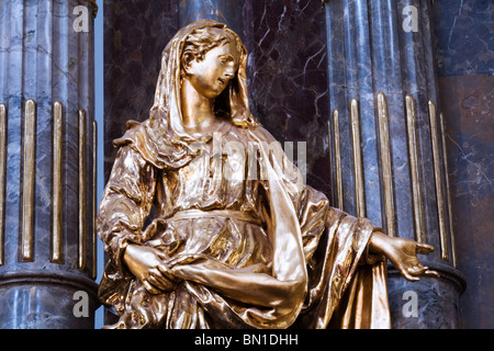 Religious gilded sculpture, Church of the Infant Jesus of Prague - Stock Photo