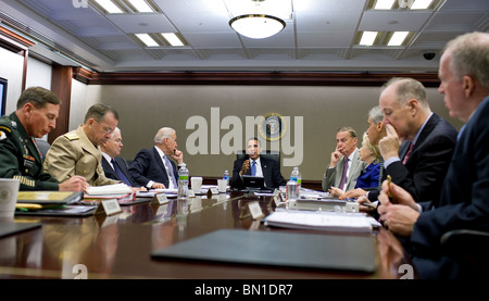 President  Obama meets with his national security team on Afghanistan and Pakistan in the Situation Room of the - Stock Photo