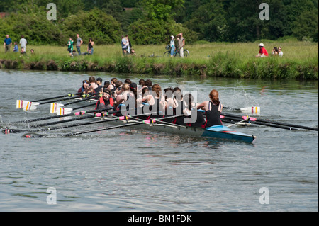 Selwyn College Women's bump the Jesus Women's boat in the May Bumps rowing race at Cambridge. - Stock Photo