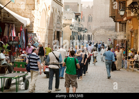 Cairo street scene in Cairo's Khan al Khalili market, the Islamic quarter, cairo Egypt - Stock Photo