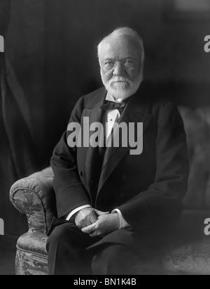 Portrait photo circa 1910 of Scottish-American industrialist, entrepreneur and philanthropist Andrew Carnegie (1835 - Stock Photo