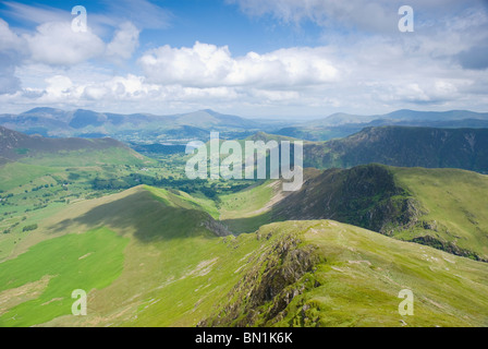 View from Lake District fell Robinson, towards the Newlands Valley, Cat Bells and Keswick - Stock Photo