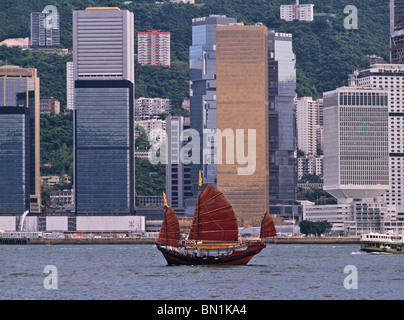 Red sailed junk in Hong Kong harbour. - Stock Photo
