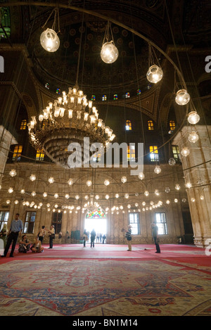 An atmospheric view inside the Mosque of Muhammad Ali Pasha, The Citadel, Cairo, Egypt - Stock Photo