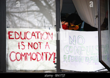 'Stop the Cuts'  student campaigners occupy  an administration building at U. of Sussex  to protest budget cuts - Stock Photo