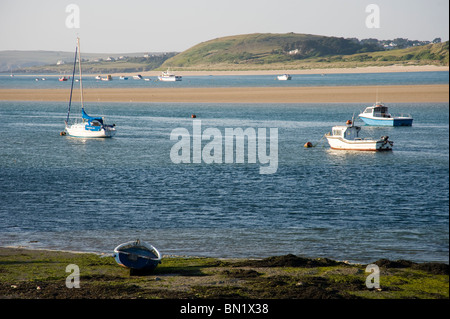 River Camel Estuary, Padstow, Cornwall UK at mid tide, showing moored boats on a summers day. - Stock Photo