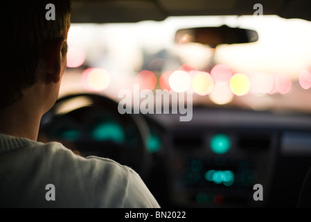 Driving in rush hour traffic - Stock Photo