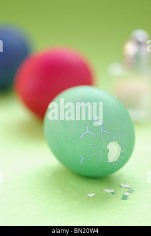 Dyed Easter Eggs Lying on a Table - Stock Photo