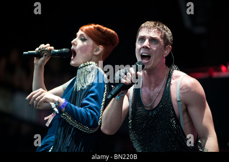 Jake Shears and Ana Matronic of the Scissors Sisters perform at the Pyramid Stage, Glastonbury 2010 - Stock Photo