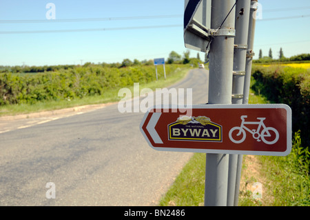 Cycle Byway sign, English country road on Cambridgeshire/Northamptonshire border. - Stock Photo