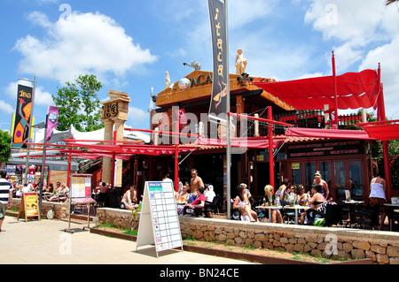 Beach promenade bar, Platja de s' Arenal, Sant Antoni de Portmany, Ibiza, Balearic Islands, Spain - Stock Photo