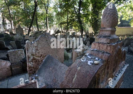 Old Jewish Cemetery in Josefov, Prague - Stock Photo