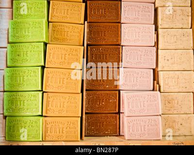 Bars of handmade soap,Nice,Cote d,Azur,France - Stock Photo