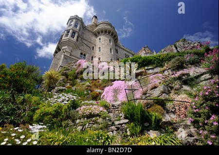 Castle on St Michael's as viewed from the walled gardens - Stock Photo