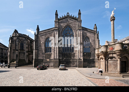 St Giles Cathedral in High Street The Royal Mile of Edinburgh Scotland viewed from east and Parliament Square - Stock Photo