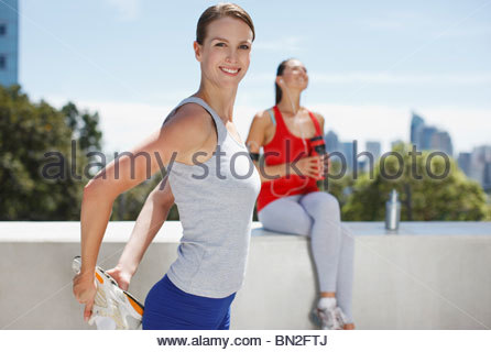 Woman stretching before exercise - Stock Photo