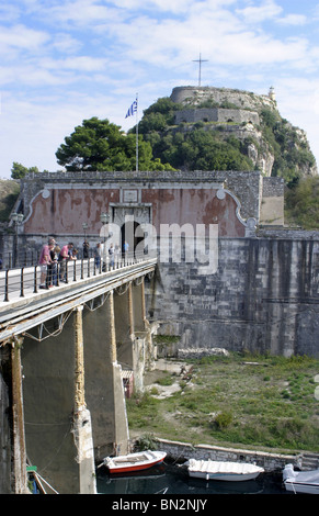 The entrance to the old fort (Paleo Frourio) in Corfu town Greece - Stock Photo