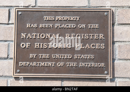 National Register of Historic Places plaque on the building housing a Basque restaurant and hotel in Fresno California - Stock Photo
