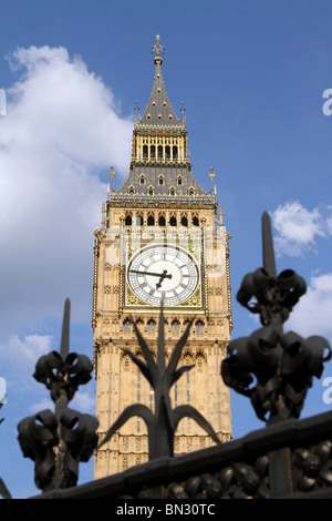 Big Ben and security fence at the Houses of Parliament, London, England - Stock Photo