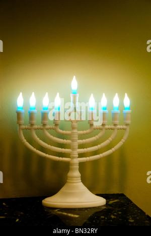 Hanukkah Menorah, a nine-branched candelabrum - Stock Photo