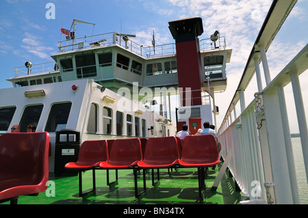 Upper deck of Red Funnel car ferry during crossing - Stock Photo
