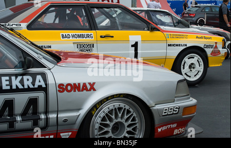 A display of Audi touring and rally cars on the Audi stand at the 2010 Le Mans 24 Hour Race - Stock Photo