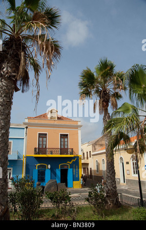 Cape Verde Islands, Sao Vicente, Mindelo (aka Porto Grande). Typical Mindelo street scene. - Stock Photo