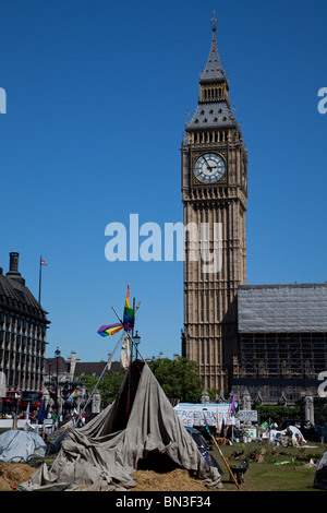 A democracy village protest in Parliament Square, London - Stock Photo