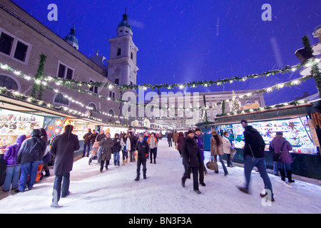 Christmas Market in the old town of Salzburg, Austria - Stock Photo