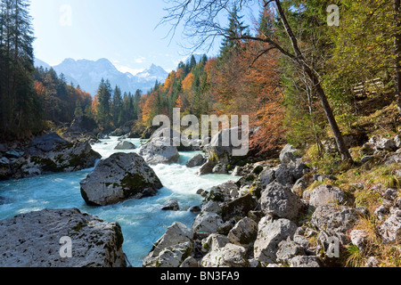 Boulders in a river, Zell am See, Austria - Stock Photo