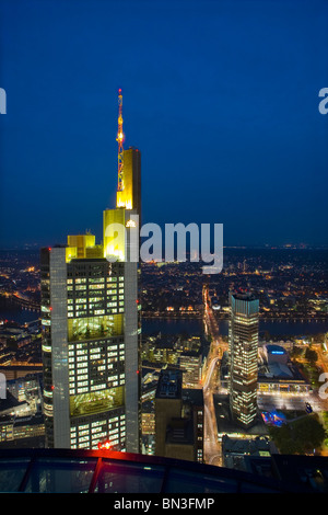 Main Tower and Commerzbank Tower, Frankfurt am Main, Hesse, Germany - Stock Photo