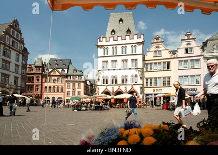 Main market with Steipe, Trier, Rhineland-Palatinate, Germany - Stock Photo