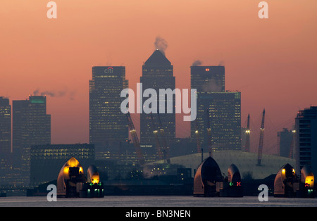 Canary Wharf and Thames Barrier, London, UK, Europe - Stock Photo