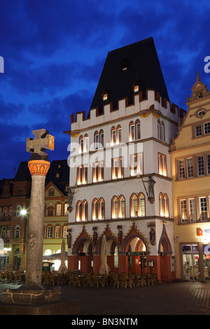 Main market with Steipe and market cross, Trier, Rhineland-Palatinate, Germany, Europe - Stock Photo