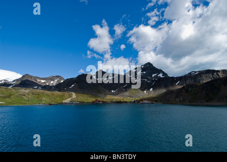 Grytviken, a former whaling station, view from boat, South Georgia - Stock Photo