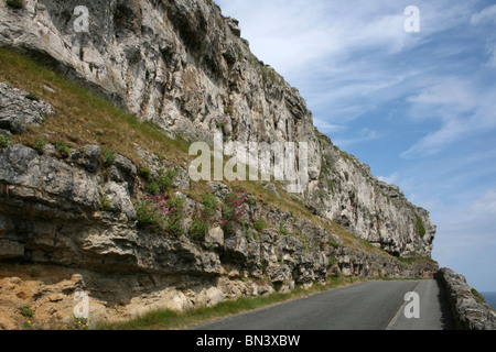 Marine Drive Toll Road Running Around The Headland Of The Great Orme, Llandudno, Wales - Stock Photo