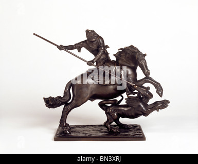 St. George & the Dragon statuette, made by Francesco Fanelli. London, England, early 17th century - Stock Photo