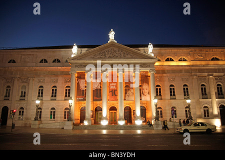 the National theater Dona Maria II on the square Praca de Dom Pedro IV or Rossio in Lisbon, Portugal, Europe - Stock Photo