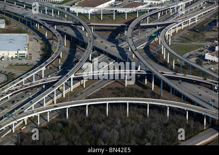 aerial view above Houston Texas highway interchange
