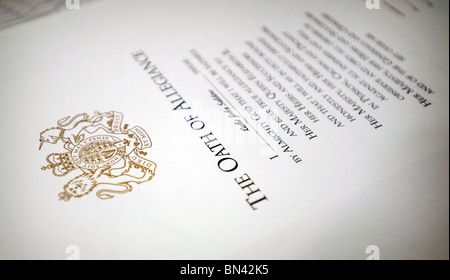 A close up of the official British Oath of Allegiance to Her Majesty Queen Elizabeth II. Photo by Matt Kirwan - Stock Photo